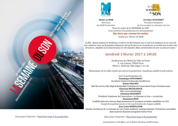 invitation Semaine du Son 17/02/03 Mairie de Paris